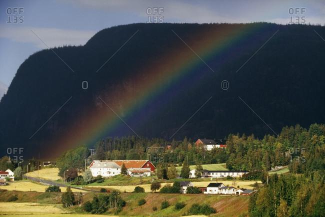 Rainbow over Norwegian farm