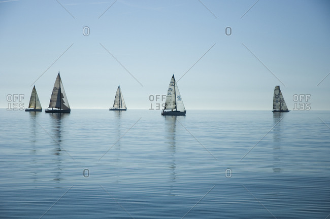Picturesque waterscape with sailboats