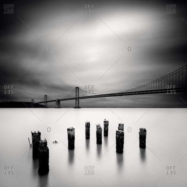 Black and white shot of the San Francisco-Oakland Bay Bridge