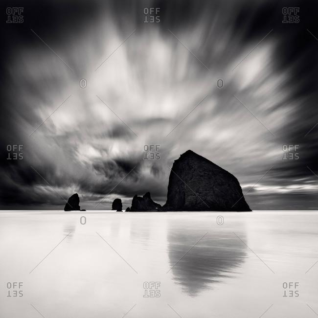 Black and white shot of Bandon Beach in Oregon