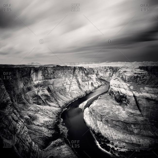 High Angle black and white shot of Colorado River