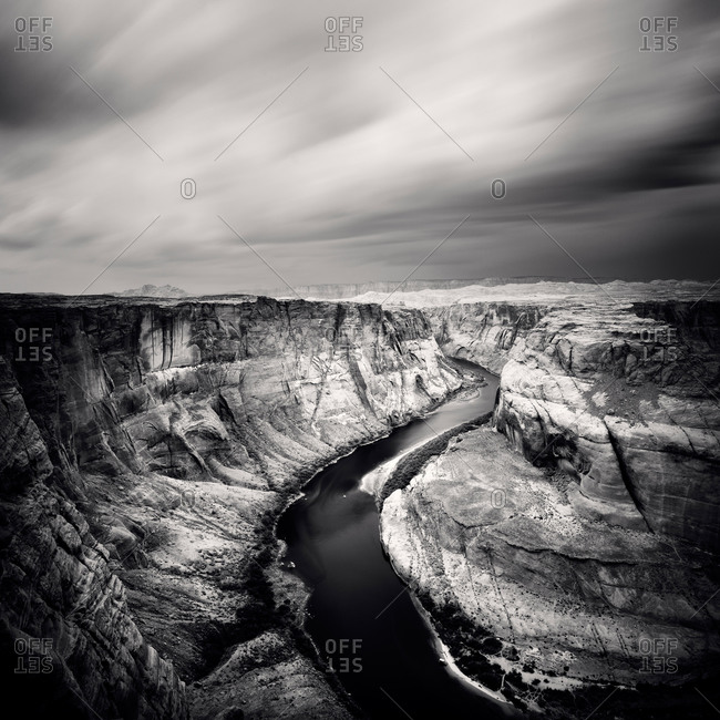 High Angle black and white shot of Colorado River