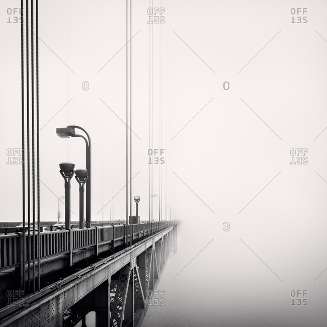 Black and White shot of the Golden Gate Bridge's suspension cables