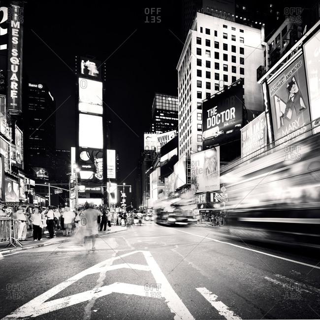 Black and white Times Square street scene