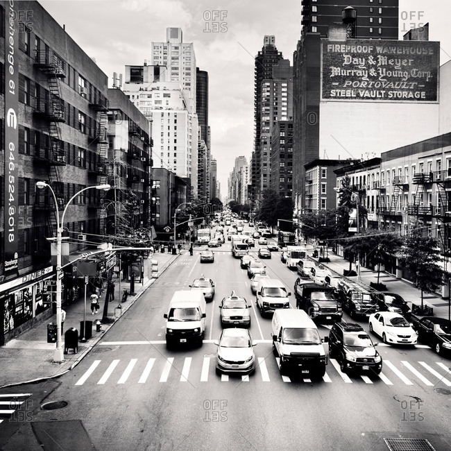 High angle view of New York City street scene