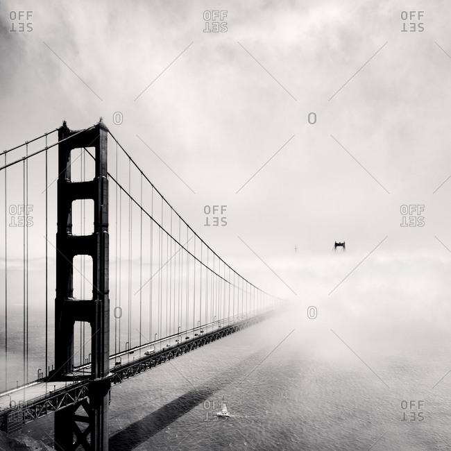Black and White shot of the Golden Gate Bridge in Fog