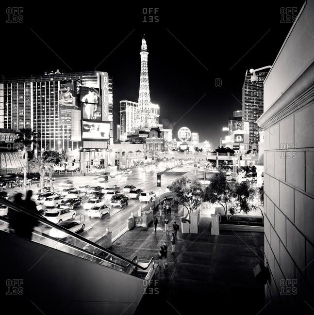 Black and white shot of Las Vegas Strip