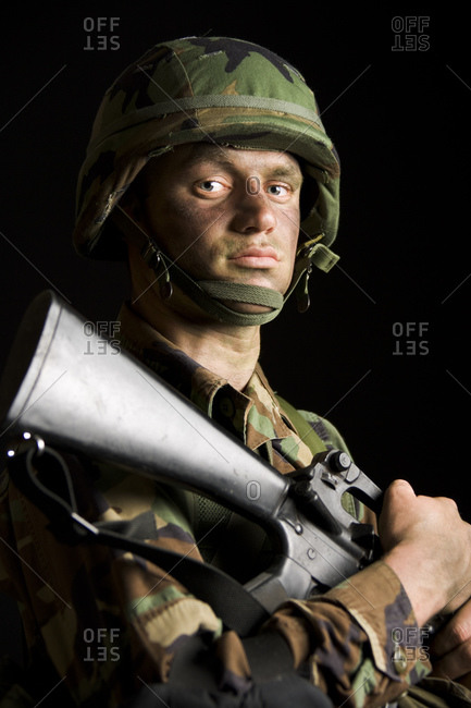 Soldier with Camouflage Face