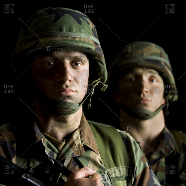 Soldiers with Camouflage Faces