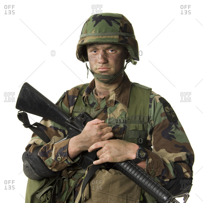 Soldier posing with weapon
