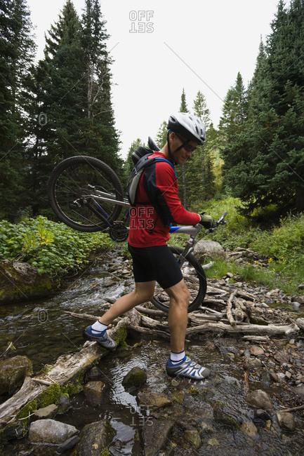 Mountain biker in wilderness