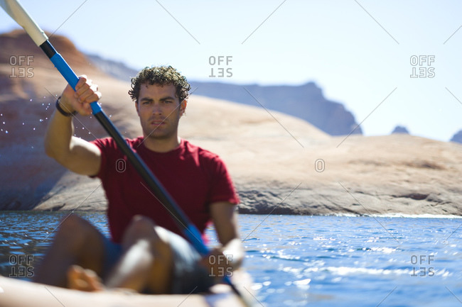 Man rowing in a boat