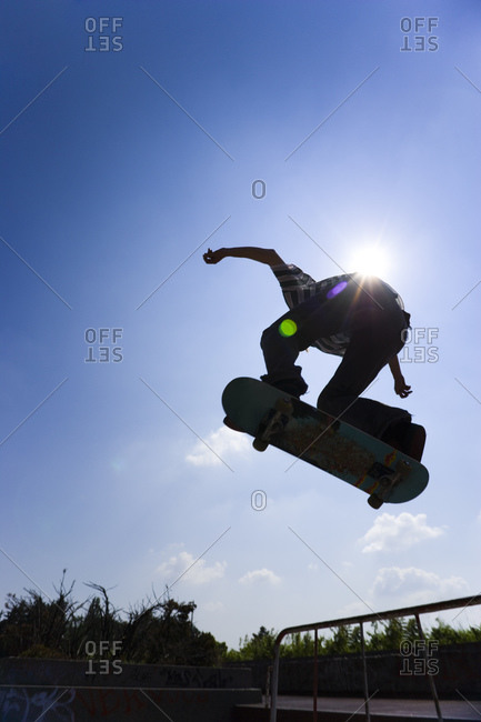 Teenage boy on skateboard