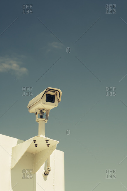 Low angle view of surveillance camera on ferry