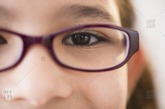 Close-up view of girl's (12-13) face