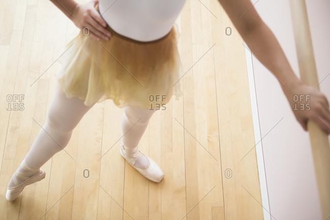 Portrait of teenage (16-17) ballet dancer standing in ballet position at barre