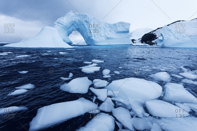 Ice floe floating on water