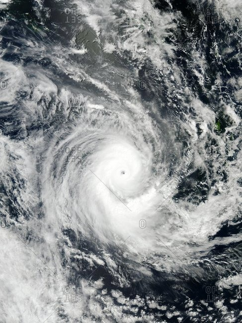 Satellite image of a Tropical Cyclone Erica, March 13, 2003. North is at top.