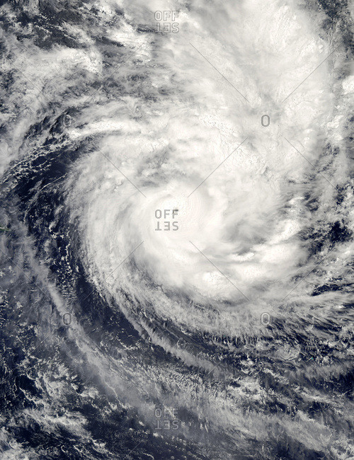 Aqua satellite image of tropical cyclone Percy in the South Pacific Ocean, March 1, 2005.