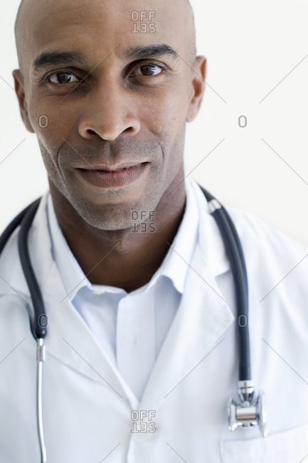 Doctor wearing a lab coat and stethoscope