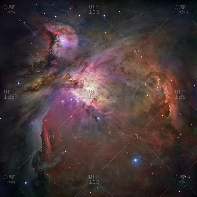 Hubble Space Telescope mosaic of the Orion nebula. 1500 light years away. This is one of the most detailed astronomical images ever produced (as of 2006). It shows thousands of stars never seen before in visible light.