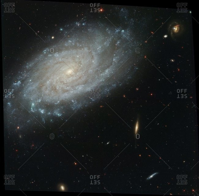 Spiral galaxy NGC 3370, Hubble Space Telescope image. This galaxy is around 98 million light years from Earth.