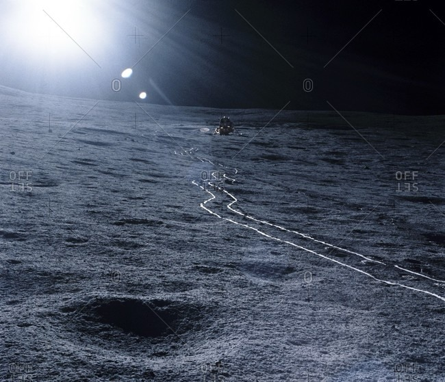 Lunar landing module. The Antares lander (upper center) in the Fra Mauro area on the surface of the Moon. The tracks seen leading from Antares were formed by the Modular Equipment Transport.