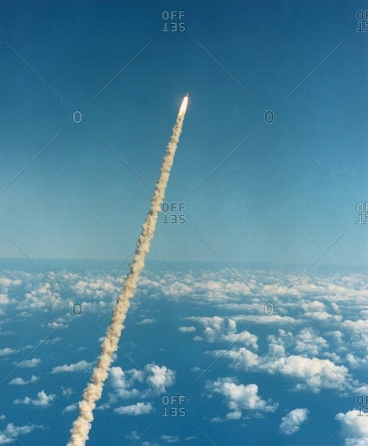 The smoke plume of the Space Shuttle Columbia on mission STS-52 (22 October-1 November 1992).