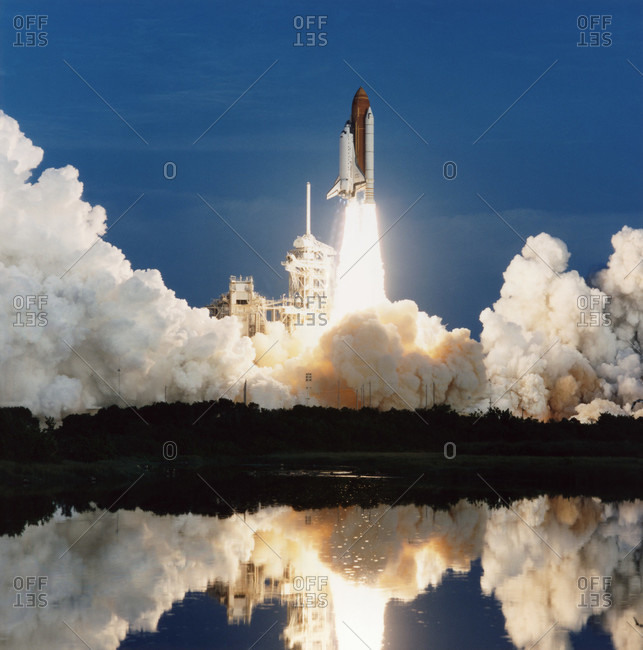 Start of Mission STS-51. Space Shuttle Discovery clears the launch tower at the start of Mission STS-51. The mission, which took place on 12-22 September 1993, carried a crew of five.