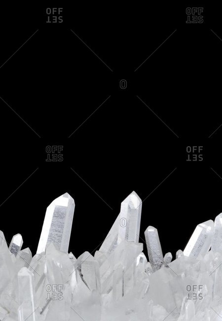 View of Quartz crystals in rock formation