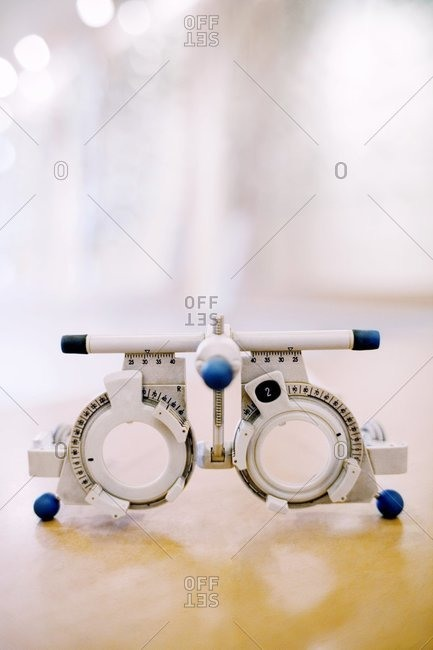 View of Trial frame instrument which is used to determine an individual's lens prescription for a pair of glasses.
