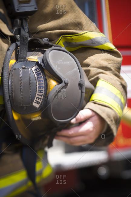 Close-up of fire helmet