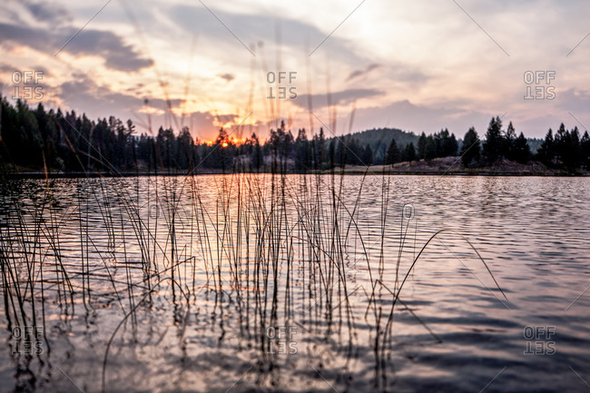 Rippling waterscape at sunset - Offset