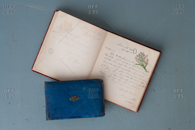 Top view of opened autograph book