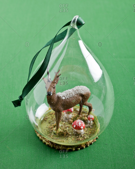 Close up of Christmas ornament with deer