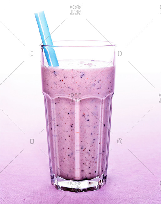 Berry-banana smoothie in a glass