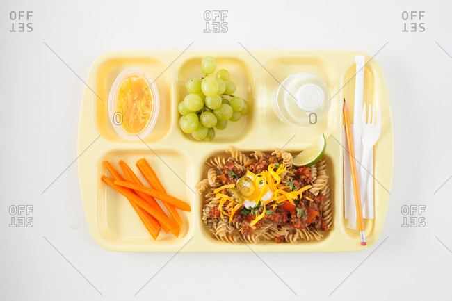 Top view of lunch tray with food