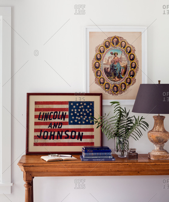 Vintage interior with American flag