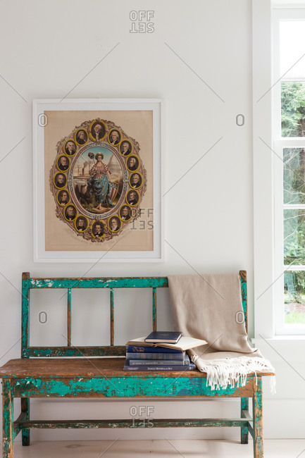 Vintage interior with weathered bench