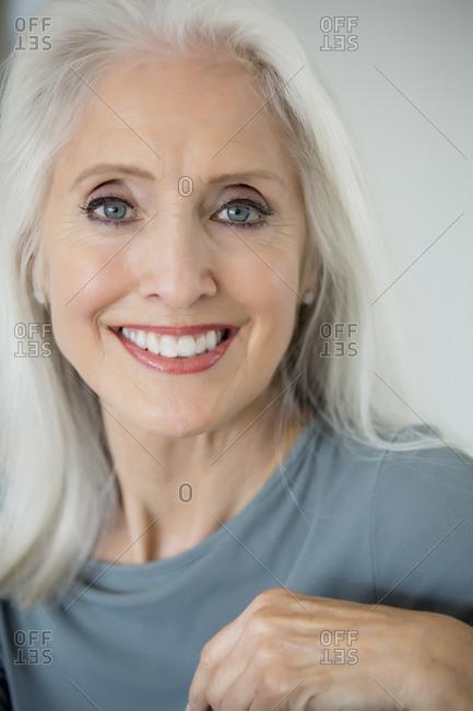 Older Caucasian woman smiling