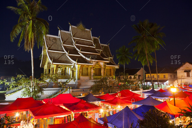 Ornate building overlooking market stalls