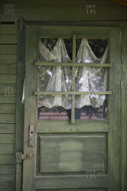 Door of old wooden house