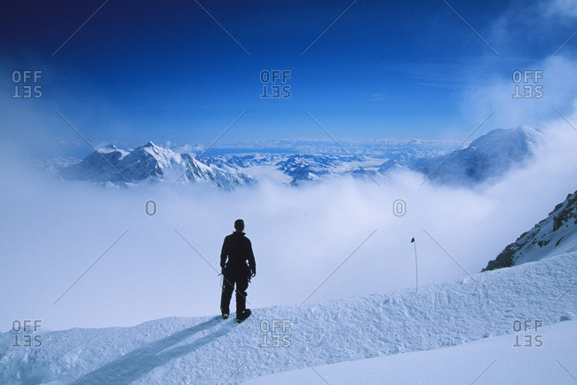 A climber at 16,000 feet  on the West Buttress of Denali