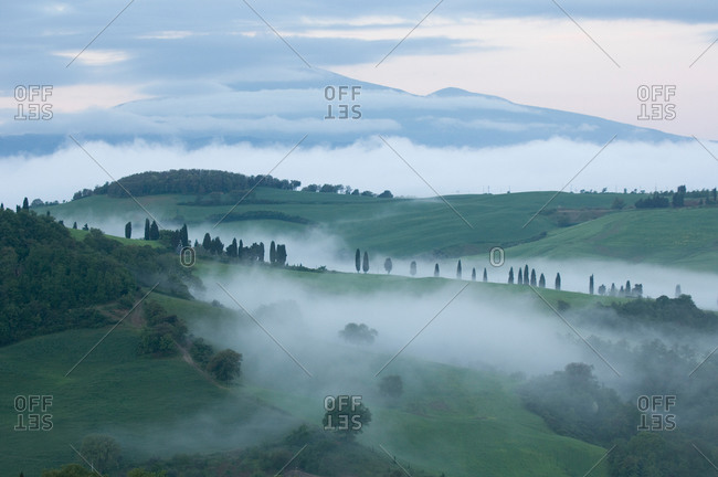 An early morning mist rolls over hills and vineyards near Pienza