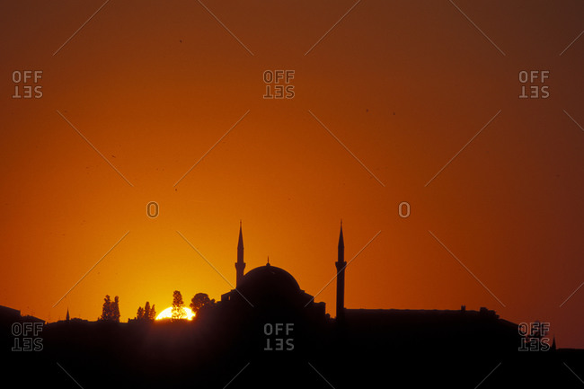Sunset over Eyup Sultan Mosque with Golden Horn from Galata Bridge, Istanbul