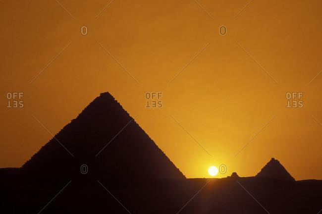 Giza pyramids at sunset in Egypt
