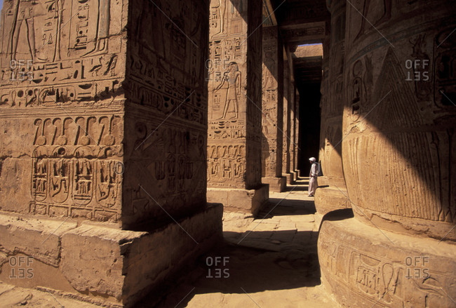 Columns with reliefs at Karnak Temple in Luxor, Egypt