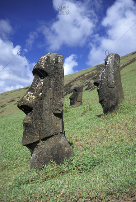 Daytime shot of Moai statues at Easter Island, Chile