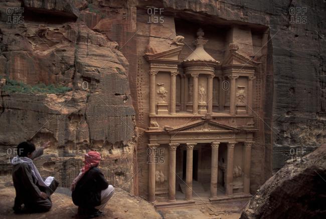Facade of the treasury in Petra, Jordan
