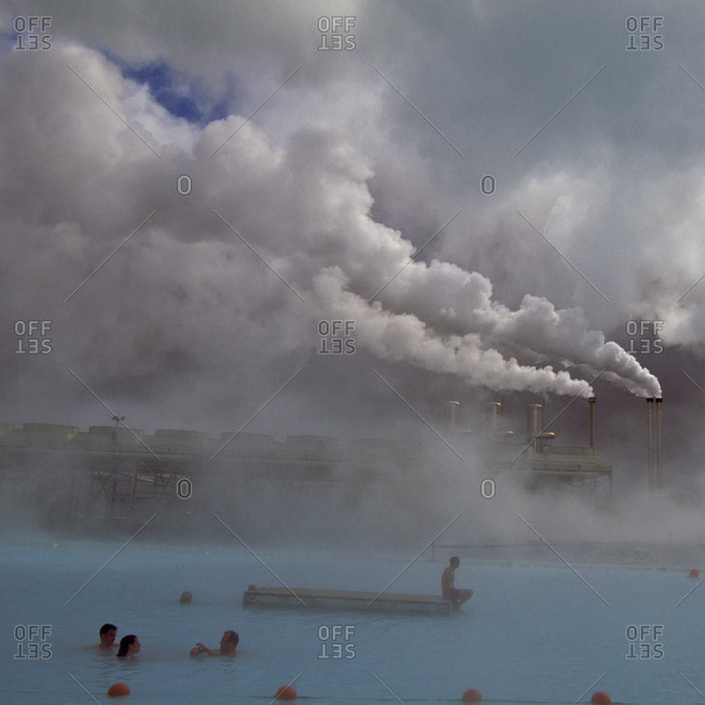 Iceland, Blue Lagoon, Grindavik, people in geothermal spa